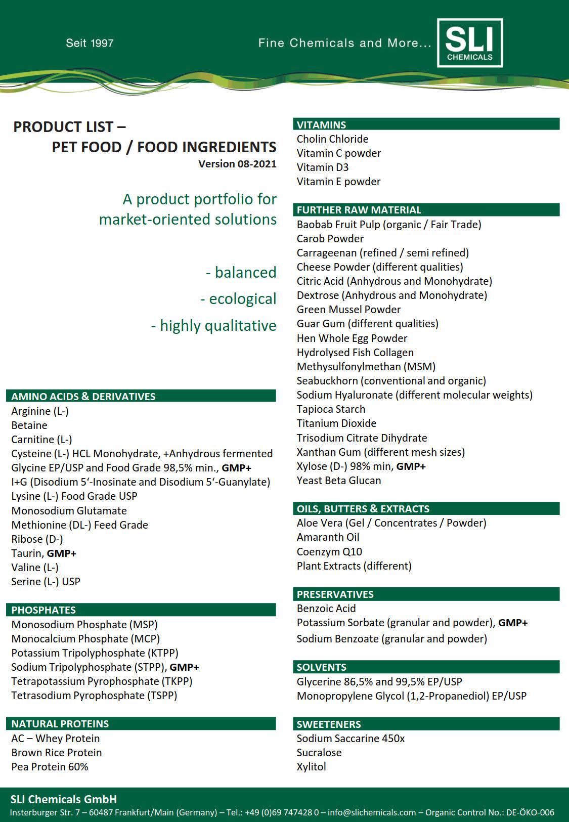 Food Ingredients Delivery Program